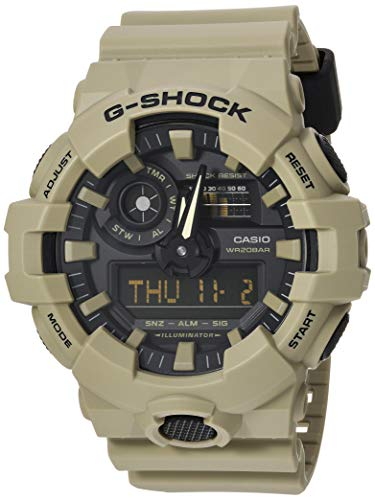 Clock Brown Dot - Casio Men's XL Series G-Shock Quartz 200M WR Shock Resistant Resin Color: Matte Tan (Model GA-700UC-5ACR)
