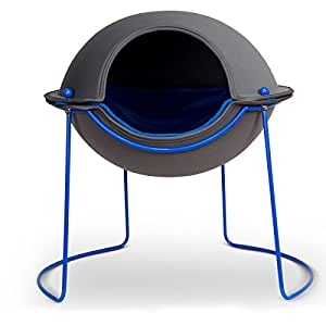 The Hepper Pod Cat Bed - It's Not Just Modern Cat Furniture, It's a Warm Cat Cave with a Round Dome Top That Covers the Bed to Offer a Perfect Place to Cuddle up and Snooze. The Removable Fleece Bedding Is Washable and Reversible to Give Your Cat the Best Nap Ever.