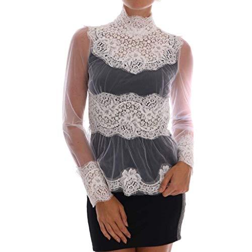 - Dolce & Gabbana White Floral Lace Mock Neck Blouse