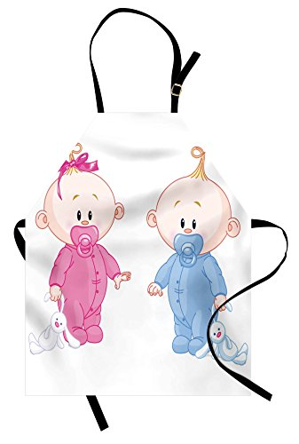 Ambesonne Gender Reveal Apron, Cheerful Boy and Girl Children with Bunny Pacifiers Twins, Unisex Kitchen Bib Apron with Adjustable Neck for Cooking Baking Gardening, Pale Blue and Pink Peach ()