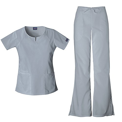 (Cherokee Women's Workwear Round Neck Top 4824 & Drawstring Flare Leg Pant 4101 Scrub Set (Grey - Medium/Small Petite))