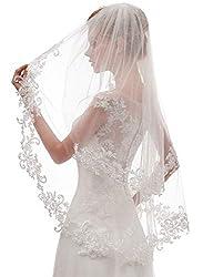 EllieHouse Women's Short 2 Tier Lace Wedding Bridal Veil With Comb L24