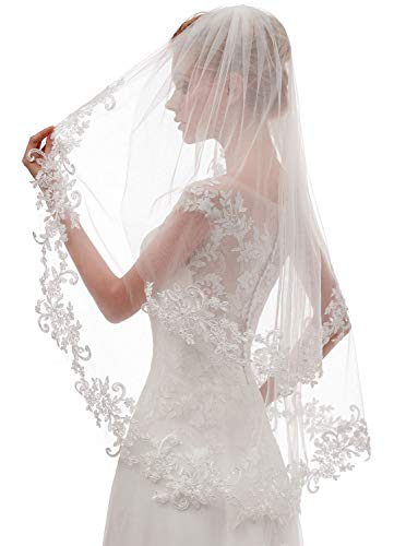 EllieHouse Women's Short 2 Tier Lace White Wedding Bridal Veil With Comb L24WT ()
