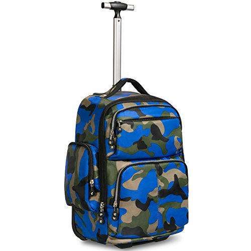 - 20 inches Big Storage Waterproof Wheeled Rolling Backpack Travel Luggage for Boys Students School Books Laptop Bag, Blue Camouflage