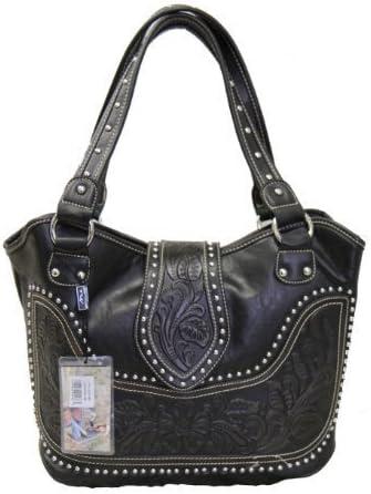 Montana West Ladies Concealed Gun Handbag Tooled Genuine Leather Black
