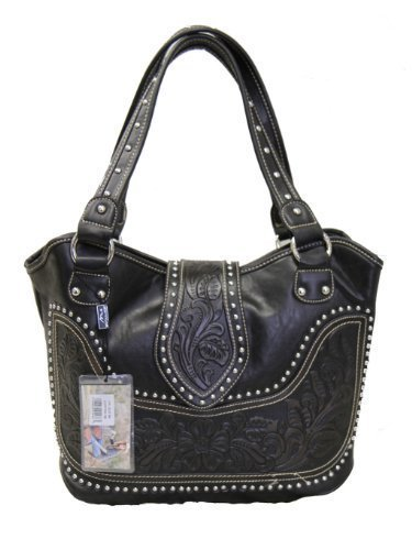 Montana West Ladies Concealed Gun Handbag Tooled Genuine Leather Black, Large