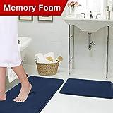 Soft Memory Foam Microfiber Bath Rugs Extra Absorbent Flannel Bath Mats Machine-Washable Bathroom Mat Set, 2 Piece, 20x32/17x24 Inch Navy