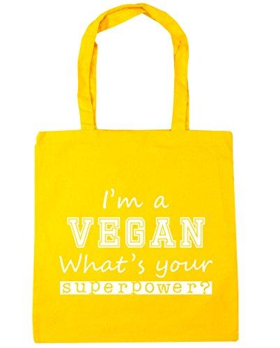 HippoWarehouse I'm A Vegan What's Ihre Supermacht? Einkaufstasche Fitnessstudio Strandtasche 42cm x38cm, 10 liter - Gelb, One size