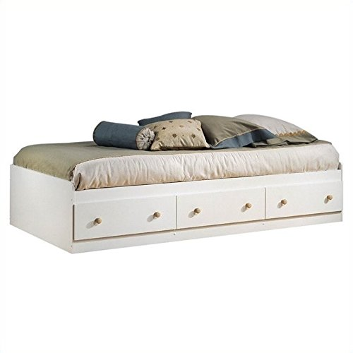 South Shore Furniture Summertime Collection Twin Mates Bed, Pure White and Natural Maple (Bunk Bed Twin Maple)