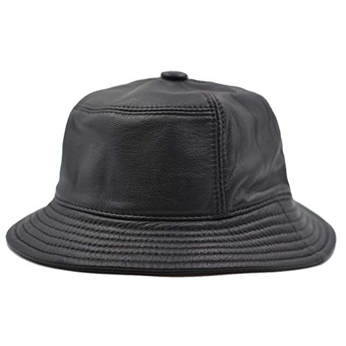 Leather Bucket Hat - Yosang Unisex Genuine Leather Bucket Hats Outdoor Fishing Hat