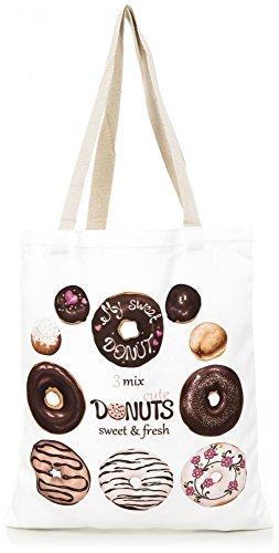 pour Sac Donuts SEVENTY9 Rose magasinage de avec toile en flamant blanc dames blanc flamant par de de Chien de en Sac impression ESTABLISHED couleur tissu coton transport coton Sac de vCqYSn5
