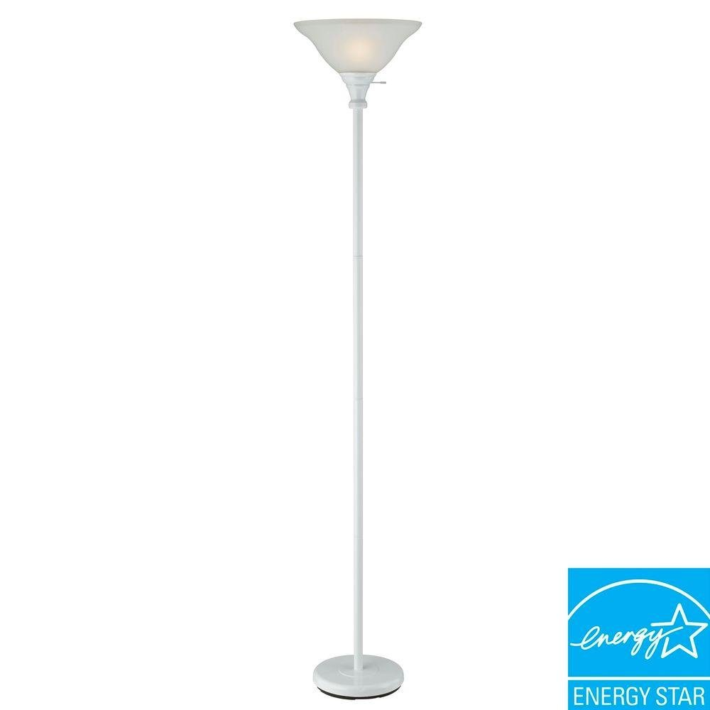 Cal Lighting BO-213-WH 3 Way Torchiere Floor Lamp with Frosted Glass Shades 70 150W, White Finish