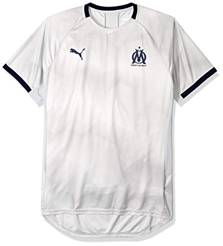 PUMA Men's Standard Olympique de Marseille Graphic Jersey with Sponsor Logo, high Rise/Peacoat, X-Large (De Olympique Marseille)