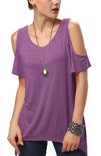 Women's Vogue Shoulder Off Wide Hem Design Top Shirt (X-Large, Heather...