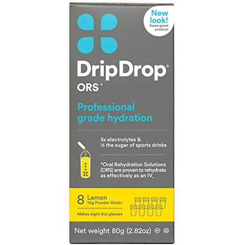 Drip Drop ORS 10g Electrolyte Hydration Powder Sticks, Lemon, 8 Count