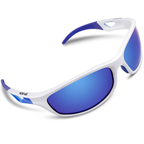 RIVBOS Polarized Sports Sunglasses Driving Sun Glasses for Men Women Tr 90 Unbreakable Frame for Cycling Baseball Running Rb831 (White&Blue Mirror (No Prescription Color Contacts)