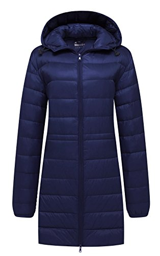 Nylon Winter Coat - Wantdo Women's Hooded Packable Ultra Light Weight Down Coat, Navy, XL