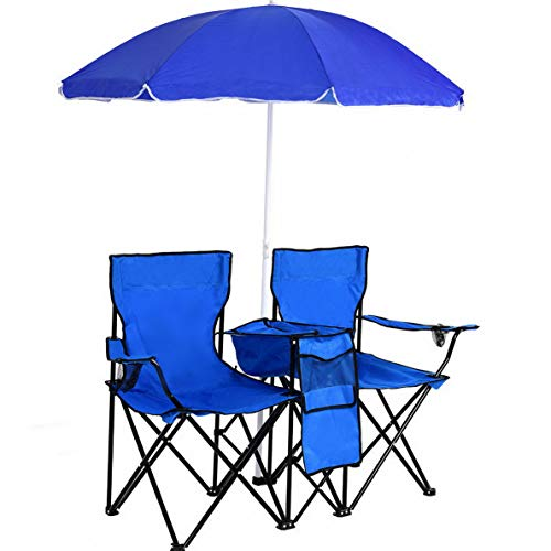 Kaputar Portable Folding Picnic Double Chair W/Umbrella Table Cooler Beach Camping Chair | Model CMPNGCHR - 159