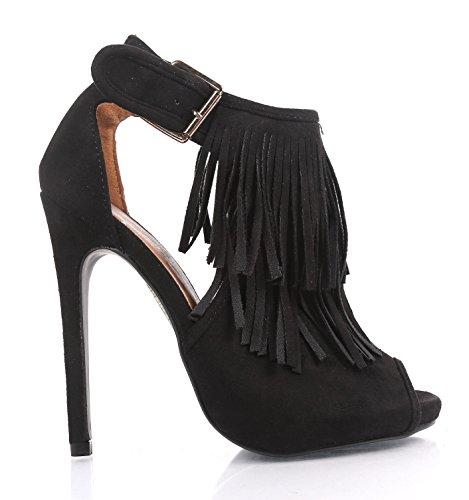 """ede Open Toe Fringes Peep Toe Party Women 5"""" Fancy Stiletto High Heels Dress Shoes (7.5, BLACK) (Fancy Heel)"""