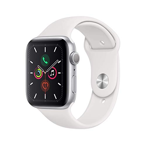 Apple Watch Series 5 (GPS, 44MM) – Silver Aluminum Case with White Sport Band (Renewed)