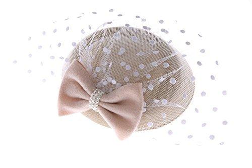 - Women's Fascinators Hat Pillbox Hat Cocktail Party Hat with Veil Hair Clip (Beige)