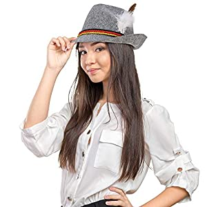 Skeleteen German Oktoberfest Alpine Fedora – Bavarian Swiss Traditional Trachten Felt Costume Hat with Feather for Kids and Adults Grey