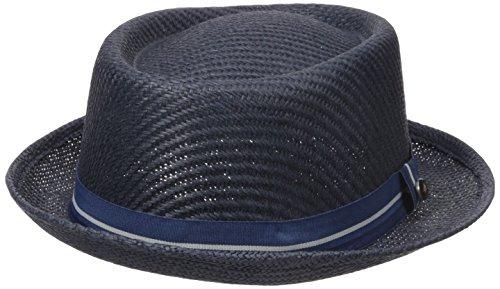 Ben Sherman Men's Blocked Straw Pork Pie Hat, Staples Navy, L-XL