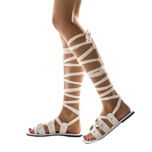 - Aniywn Women's Roman Gladiator Sandals, Ladies Open Toe Strappy Ankle Strap Crisscross Tie Flat Shoes White