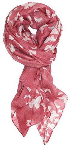 Ted and Jack - Graceful Butterflies Silhouette Print Scarf in Coral with - Butterfly Silhouette