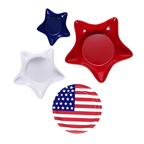 (Patriotic Star-Shaped Plastic Bowl Serving Set plus American Flag Party Plates-Four Piece Bundle)