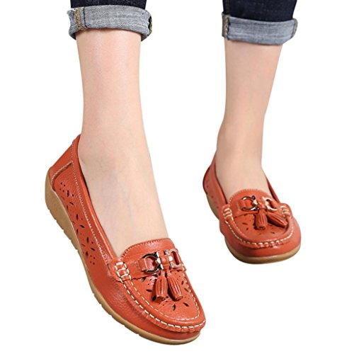 Women Workout Boat Shoes,Hemlock Hot Sales Slip-On Wedges Shoes Platforms Flats Sandals Outdoor Soft Bottom Espadrilles (US:7.5, Orange)