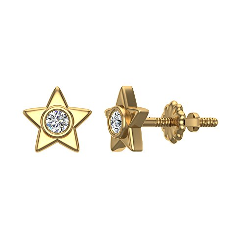 Diamond Earrings Star Shape Studs 10K Yellow Gold - Bezel Setting Screw Back Posts (0.10 carat total)