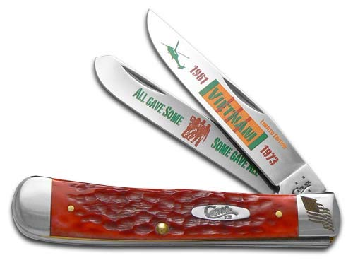 Case Cutlery CAT-VIET Trapper Red Bone Stainless Steel Blades Gift Tin (Large Trapper)