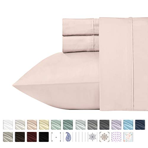 (California Design Den 400 Thread Count 100% Cotton Sheet Set, Blush Full Sheets 4 Piece Set, Long-Staple Combed Pure Natural Cotton Bedsheets, Soft & Silky Sateen Weave)