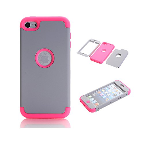 Price comparison product image iPod Touch 6 Case, iPod Touch 5 Case,  VPR 3 in 1 Shock Absorbing Case,  Rubber Combo Hybrid Impact Silicone Armor Hard Case Cover for Apple iPod touch 5 6th Generation (Grey+Rose)