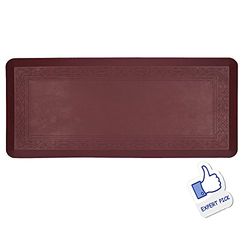 Grand Era Anti-Fatigue Comfort Mat- 24 in x 60 in- Multi Surface All-Purpose Luxurious Comfort - for Kitchen, Bathroom or Workstations,Wine Red