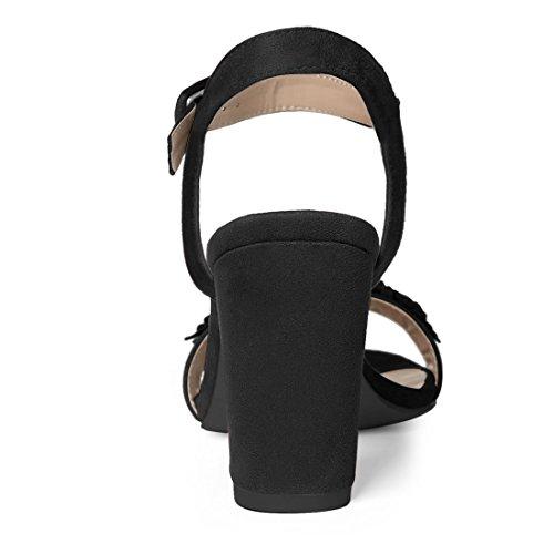 Nero Sandali Allegra K alla Caviglia Donne US Tacco 5 Fiore Applique 6 Grosso Cinturino P4SzPq6