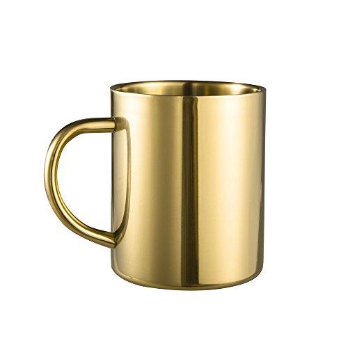 IMEEA Coffee Mug 13.5oz/400ml Double Wall Stainless Steel Tea Mug, Set of 1 (Gold)