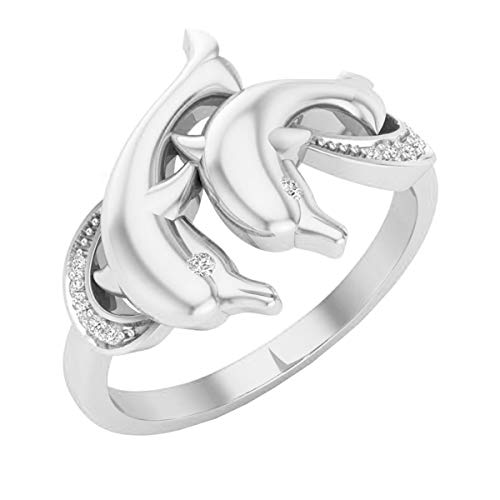 Dazzlingrock Collection 0.05 Carat (ctw) 14K Round Diamond Ladies Double Dolphin Right Hand Ring, White Gold, Size 7