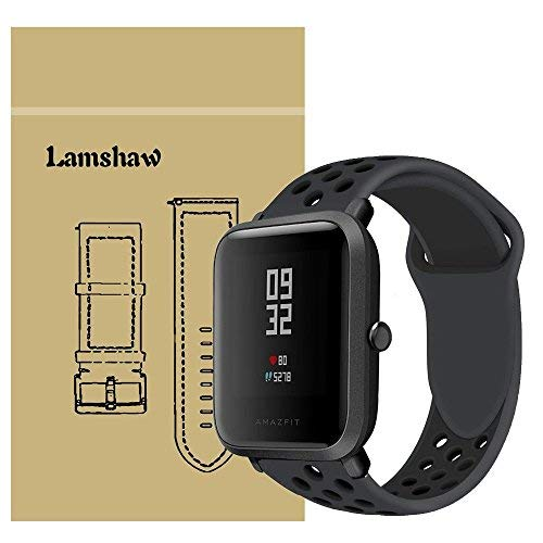 for Xiaomi Amazfit Bip Band, Lamshaw Classic Silicone Sport Replacement Straps for Xiaomi Huami Amazfit Bip Younth Watch (Ventilation Holes Silicone_Black+Black)