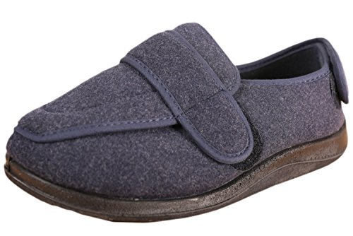 Foamtreads Men's Extra-Depth Wool Slippers,11 W US,Navy