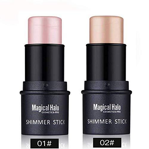 Royu 2 Colors Highlighter Stick, Shimmer Cream Powder Waterproof Light Face Cosmetics, Creamy Self Sharpening Crayon…