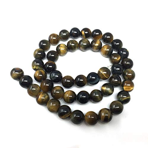 (Top Quality Natural Blue Golden Tiger's Eye Gemstone 10mm Loose Round Gems Stone Beads 15 inch for Jewelry Craft Making GS23-10)