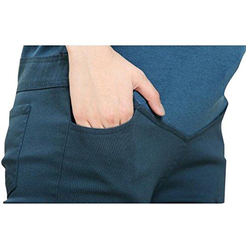 Highdas Embarazada Delgada Slim Leggings Pies Pantalones Verde oscuro