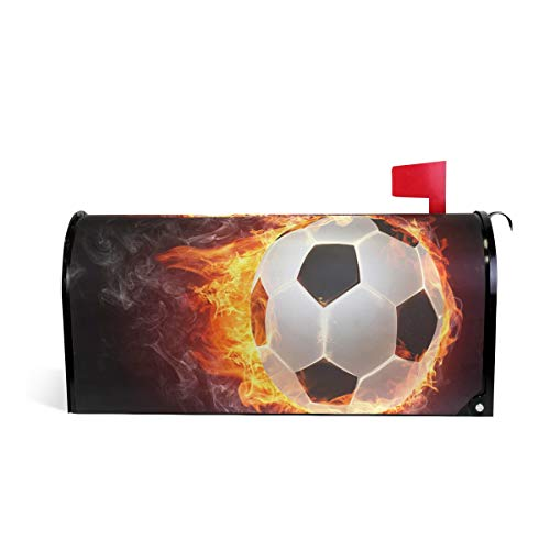 AUUXVA CUTEXL Magnetic Mailbox Covers Flaming Sport Football Soccer Mailbox Letter Post Box Cover Wrap Garden Yard Home Decor Large Size 25.4
