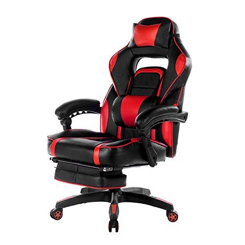 Merax High-Back Racing Home Office Chair, Ergonomic Gaming Chair with Footrest, PU Leather Swivel Computer Home Office Chair including Headrest and Lumbar Support (red) by Merax