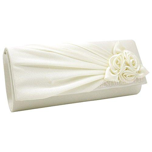 Prom Handbag Bag Women's Wedding Shoulder With Ladies Clutch Evening Rose Bridal Satin Party Ivory Wocharm Bag wqTzPFC