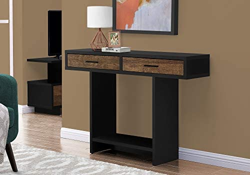 Amazon Brand Rivet Hairpin Wood and Metal 15.7 Console Table Bench, Walnut and Dark Metal