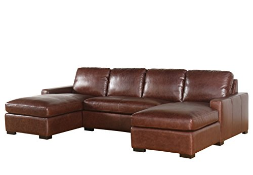 Abbyson Living SK-5928-BRN-WX 3 Piece Laurena 100% Full Grain Vintage  sc 1 st  Furniture.com : vintage leather sectional - Sectionals, Sofas & Couches