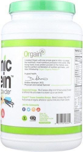 Orgain Organic Plant Based Protein Powder, Sweet Vanilla Bean, 2.03 Pound